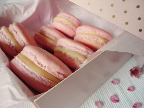 Epres-rebarbarás-fehércsokis macaron