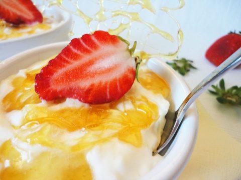 Tejberizs eperrel és roppanós karamellel