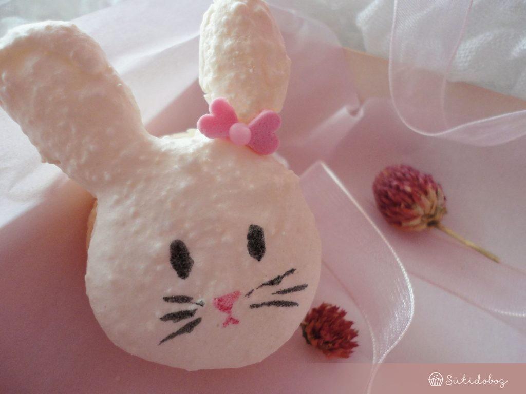 Kókuszos-fehércsokis nyuszi macaron