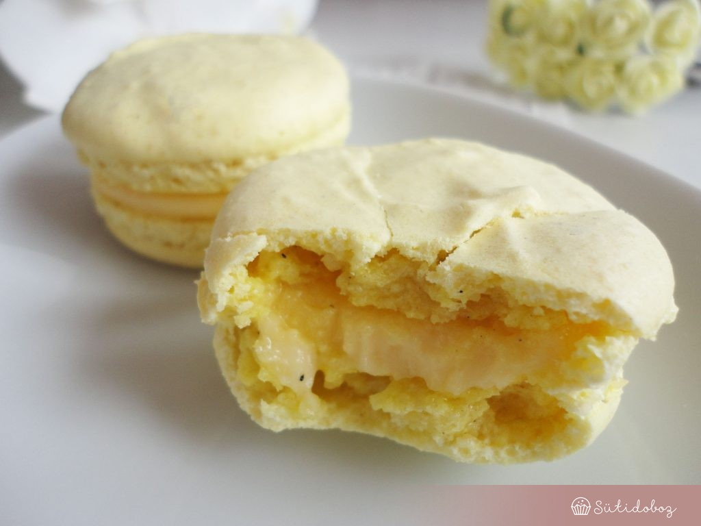 Vaníliás-citromos macaron