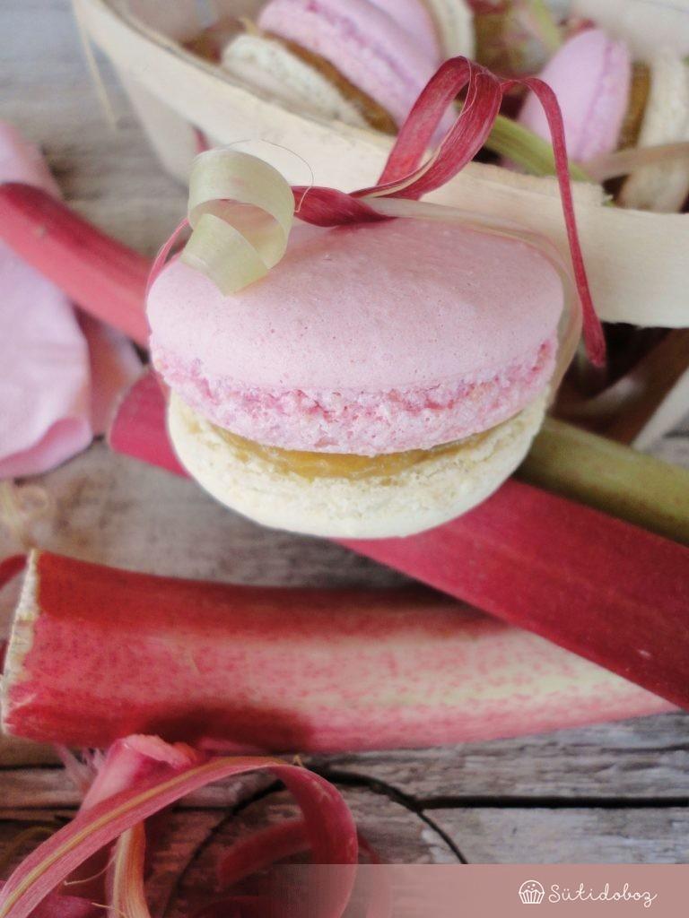 Vaníliás-rebarbarás macaron
