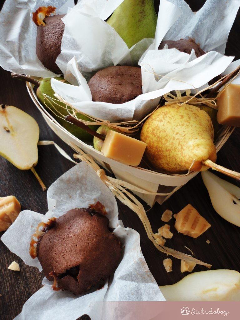 Karamellás-körtés muffin