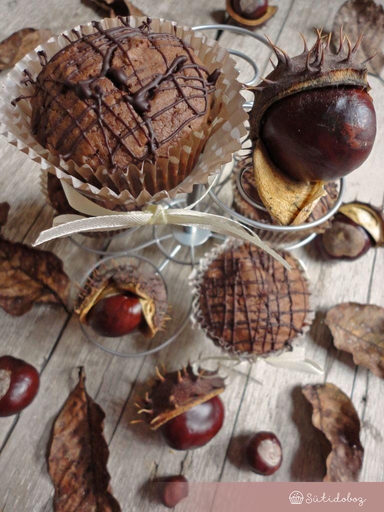 Gesztenyés muffin meggyel