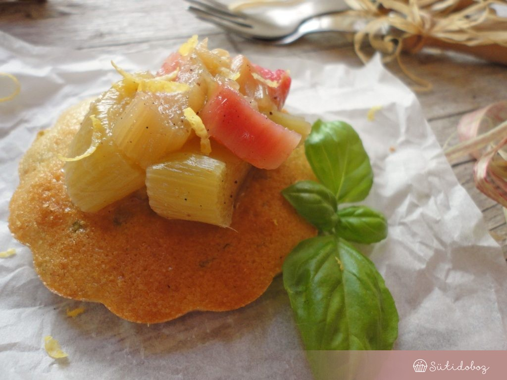 Citromos-bazsalikomos süti rebarbarával