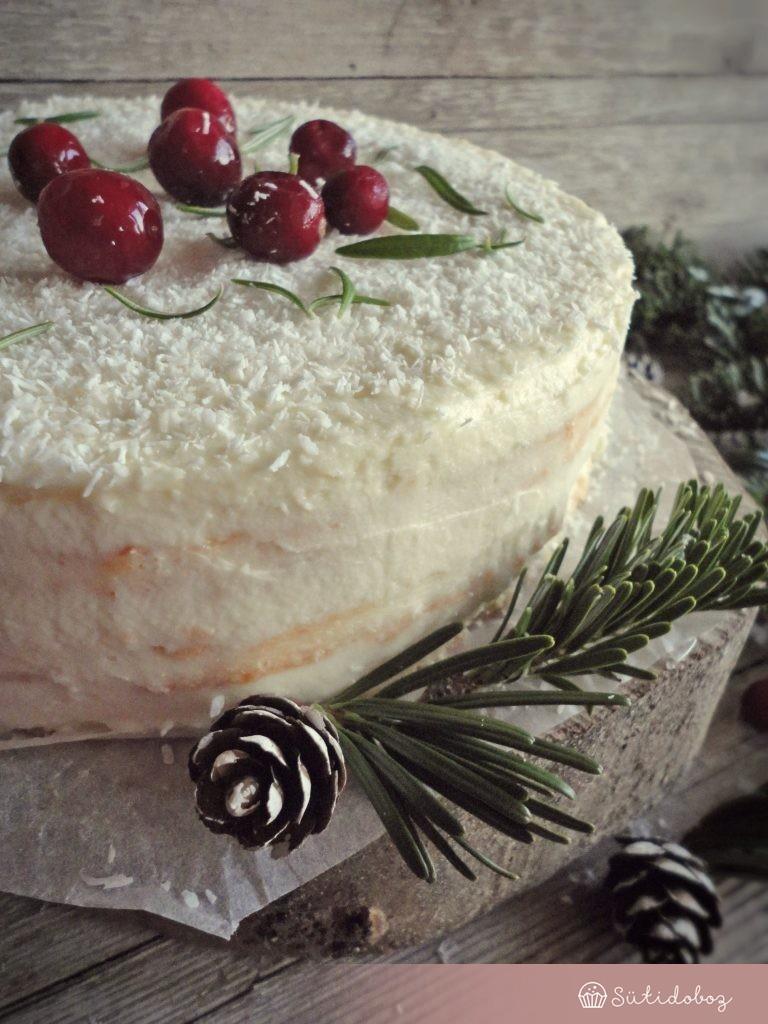 Gluténmentes fehércsokis-kókuszos torta