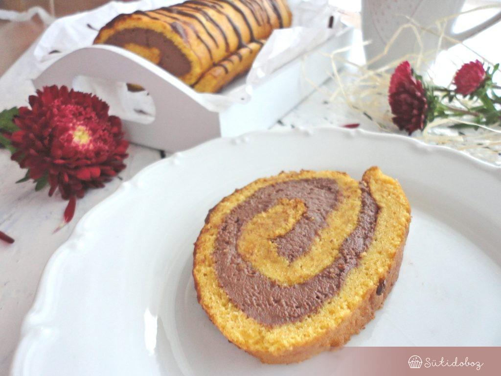 Sütőtökös piskótatekercs csoki krémmel
