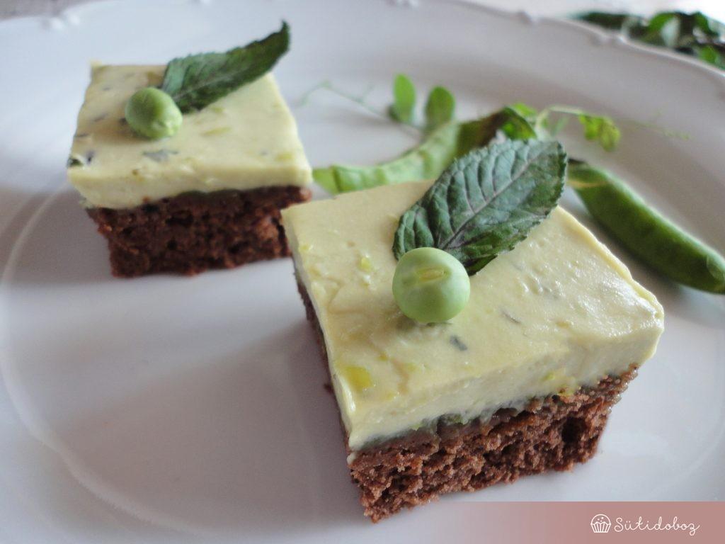 Mentás zöldborsókrémes süti
