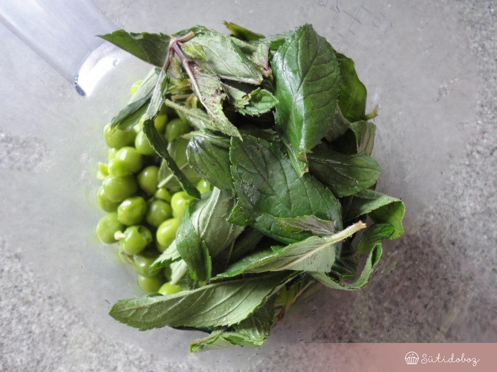 Mentás zöldborsókrém hozzávalói